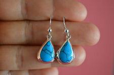 925 Sterling Silver Bezel Reconstructed Stones Tear Drop Earrings Jewelry