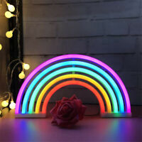 5 Tube Colorful Rainbow Neon Sign LED Night Light Wall Lamp For Kids Room Decor