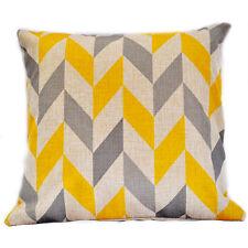 Yellow and Grey Stripes Chevron Herringbone Cotton Linen Pillow Cushion Cover