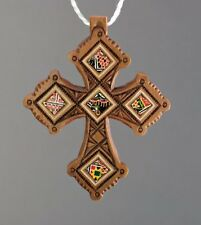 Exclusive Wooden Hand Carved Neck Inlaid Cross Ethnic Style + Leather Chain