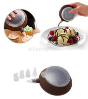 Silicone Cake Muffin Macaroon Piping icing Baking Tool Pot 4 Nozzles Set AU