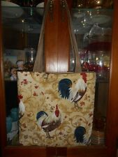 Rooster Scroll Tote Bag Chicken Farmer Harvest Fun Lunch Book Bag Handmade Purse