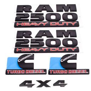OEM Matte Black RAM 2500 HEAVY DUTY 4X4 Cummins Turbo Diesel  Emblem Badges