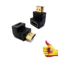 Adaptador HDMI (90° ángulo, mini, 19-pin macho a 19-pin hembra, conector de oro)