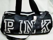 Victoria's Secret Pink Campus BLACK Gym Bag REFLECTIVE Duffel Tote Purse School