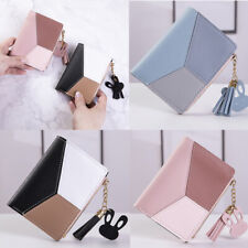Women Splicing Block Cute Wallet Coin Bag Case Leather Simple Bifold Small Purse