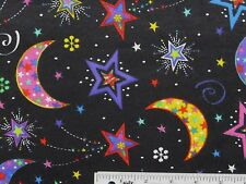 """22"""" REMNANT Bright Moons Stars on Black Cotton Flannel Fabric    (I-1) >"""