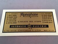 Antique Telephone Water Decal - Automatic Electric Monophone - SKU - 20764
