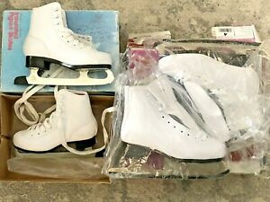 TWO- Girl's Insulated  Figure Skates, Ice Skates White, Size 13 & 4 New & almost