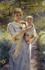 Young Mother with a Child in a Garden. Giclee Children Print on Canvas or Paper