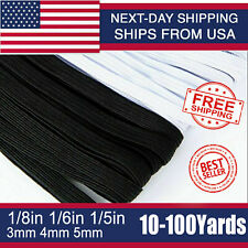 """Flat Braided Elastic Band 1/8"""" (3mm) 1/6''(4mm) width Cord Knit Sewing 110yards"""