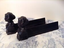 PAIR VINTAGE FRENCH CAST IRON FIRE DOGS ANDIRONS -  Roses de Mai (3208)