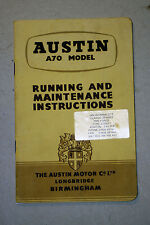 AUSTIN A70 MODELS WM61 RUNNING & MAINTENANCE INSTRUCTIONS PRINTED 1954