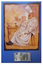 """Targa vintage """"Cuoco seduto"""", metallo, cm 33x25"""