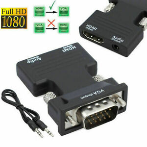 HDMI Female to VGA Male Converter / Audio Adapter Support 1080P Signal Output US