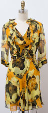 NEW 3.1 PHILLIP LIM 100% Silk Dress Fitted Floral Gold Yellow Size 0 XS ***
