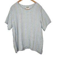 Flax Blue Linen Lagenlook Short Sleeve Top M