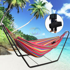 Double Hammock & Steel frame Stand combo Swinging Camping Outdoor Cotton Fabric