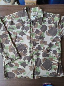 Vintage Cabelas Duck Camo Long Sleeve Shirt Size Small Full Zip