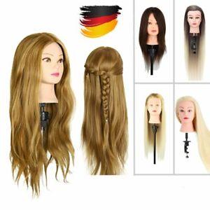 Friseurkopf Echthaar Salon Übungskopf  Puppen DIY Haarstyling 5 Farben + Halter