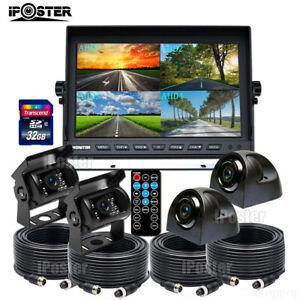 """iPoster 9"""" Quad DVR Monitor AHD 1080P Color Backup Camera 32GB for Truck Caravan"""