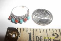 Sterling Silver Turquoise coral Navajo Ring Signed SE size 8 . 5