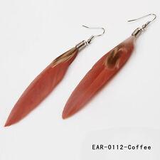 12color Lady Jewelry Handmade Earrings Goose Feather Dangle Eardrop Hook New LCF