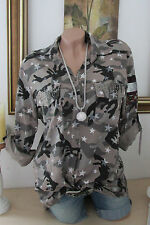 Shirt Blouse Camouflage Army Military Style Shirt Blouse Studs Star Print 36-40