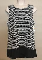 (NWT) Alfani Women's Plus Size 3X Black/White High/Low Knit Tunic Tank Top