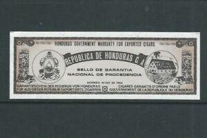HONDURAS 1966 REVENUE, WARRANTY for EXPORTED CIGARS no gum