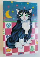 Vintage 1988 Lisa Frank Kitten Cat Moon Star 3 Ring Photo Album Cardboard Binder