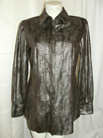 CHICO'S Top Women's Size M 1 Brown Gray Snakeskin Print Button LS Shirt Blouse