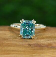 Aqua Blue Radiant Cut Moissanite Solitaire Ring   Moissanite Wedding Ring