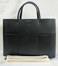 New TORY BURCH Block T Compartment Black Leather Tote Satchel Handbag Dust bag