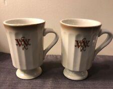 2 Vintage Mayer China Williamsburg Motor Hotel Footed Coffee Mug Restaurant Ware
