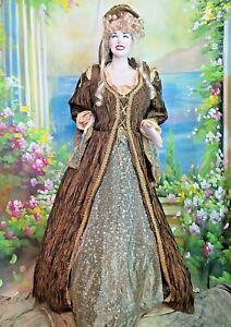 VINTAGE Antique VICTORIAN Renaissance DRESS Theater reenactment COSTUME bronze L