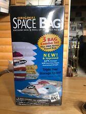 Space Bag Combo Set 3 Bags Plus Travel Bag NIB Sealed 2 Large 1 Jumbo 1 Travel