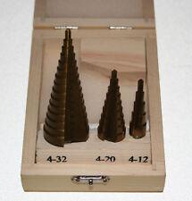 3 Stufenbohrer Titan 4-12mm 4-20mm 4-32mm in 2mm Stufen