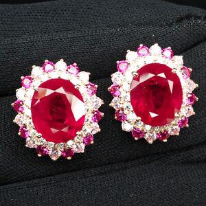 RUBY BLOOD RED OVAL 18.20 CT. SAPP 925 STERLING SILVER ROSE GOLD EARRINGS WOMEN