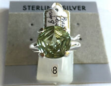RING SIZE 8 PRASIOLITE Green Amethyst Double STAR-6 Ct. in 925 STERLING SILVER