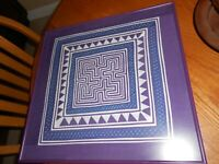 HAND MADE HMONG MAZE WALL HANGING- REVERSE APPLIQUE- PURPLE AND WHITE