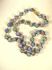 """Chinese Light Blue & Pink Flower Bead Knotted Necklace 28"""" Unbranded 81915"""
