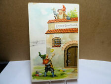 1909 Embossed Easter Postcard Gnomes Tossing Colored Eggs