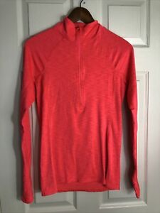 Women's Under Armour Cold Gear Fitted 1/2 Zip Thumbhole Size Medium Pink