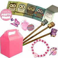Girls Pink Pre Filled Owl Party Bags Box Wedding Birthday Party Gifts (Set 13)
