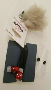 Grey Fake Fur Fuzzy Ball Phone Cellphone Charm Anti Dust Plug Gem Red Headphones