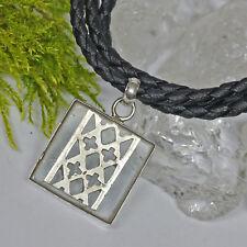 RAR Kristall 925 Silber Anhänger Kreuzblume Handgeschmiedet und echt Lederkette