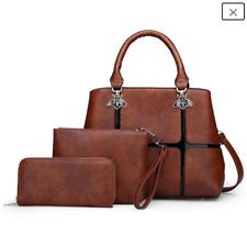 Women's Handbag Satchel 3 Piece Set Matching Bag, Purse, Wallet and Strap