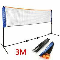 3m Adjustable Mini Foldable Badminton Tennis Volleyball Net NEW