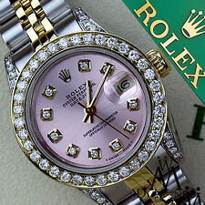 Ladies Rolex SS & 18k 26mm Datejust Watch Metallic Pink Diamond Accent Dial